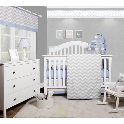 OptimaBaby Blue Chevron 6 Piece Baby Nursery Crib Bedding Set
