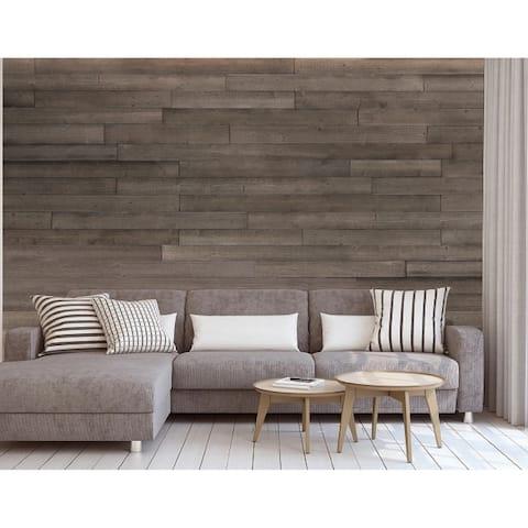 "5"" W x 48"" L Reclaimed Peel & Stick Solid Wood Wall Paneling - 1Box"
