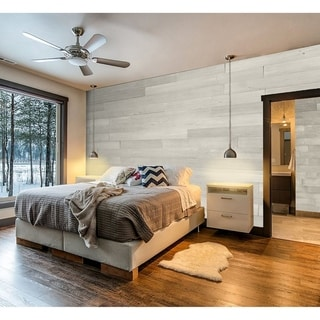 """Link to 5"""" W x 48"""" L Reclaimed Peel & Stick Solid Wood Wall Paneling - 2Box Similar Items in Wall Coverings"""
