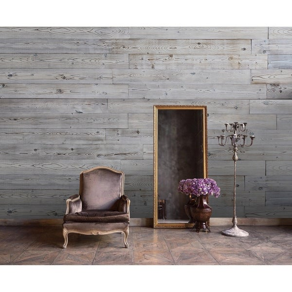 """5"""" W x 48"""" L Reclaimed Peel & Stick Solid Wood Wall Paneling. Opens flyout."""