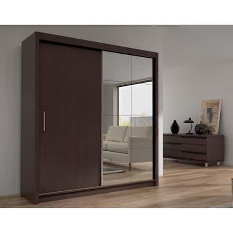 """Cedar 2-Door Solid Wood Modern Wardrobe - Armoire with Mirror - Espresso - 59"""" Wide - N/A"""