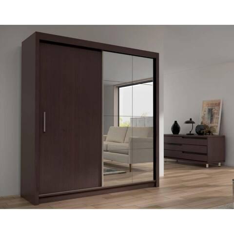 """Cedar 2-Door Solid Wood Modern Wardrobe - Armoire with Mirror - Espresso - 79"""" Wide"""
