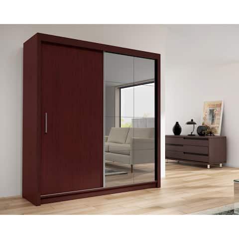 Cedar 2-Door Solid Wood Modern Wardrobe - Armoire with Mirror - Mahogany - 47 inch  Wide
