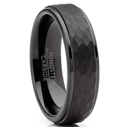 Mens Tungsten Black Wedding Band Ring Hammered Center Comfort-Fit 6MM