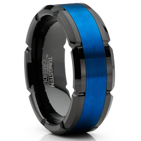 Oliveti Mens Tungsten Ring Grooved Wedding Band Black Blue Comfort-fit 8MM