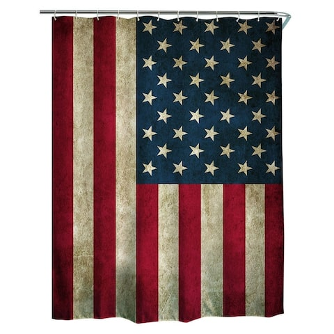 "Polyester Shower Curtain with Hooks Flag 72"" x 72"""