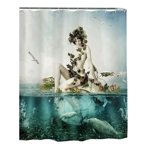 """Polyester Shower Curtain with Hooks Sea Girl 72"""" x 72"""""""