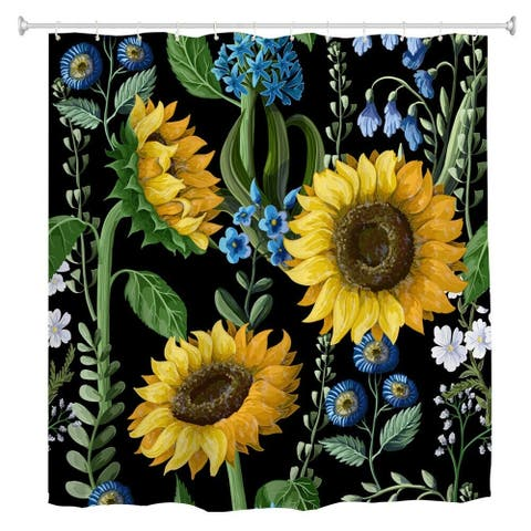 """Polyester Shower Curtain with Hooks Sunflower 72"""" x 72"""""""