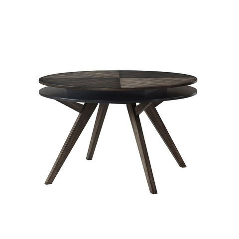Lennox Round Wood Dining Table, Dark Tobacco - Brown - N/A