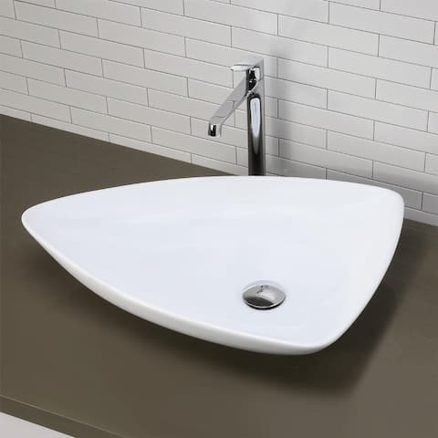 Classically Redefined Triangular Above-Counter Vitreous China Bathroom Sink in White