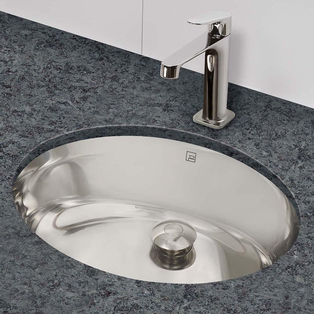 Shop Taji Oval Undermount Brushed Stainless Steel Bathroom Sink With Overflow Overstock 30860739