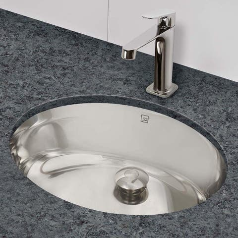 Taji Oval Undermount Brushed Stainless Steel Bathroom Sink with Overflow