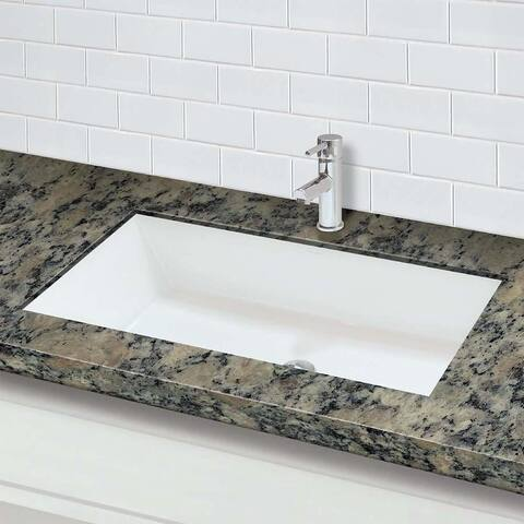Sacha Rectangular Undermount Solid Surface Bathroom Sink