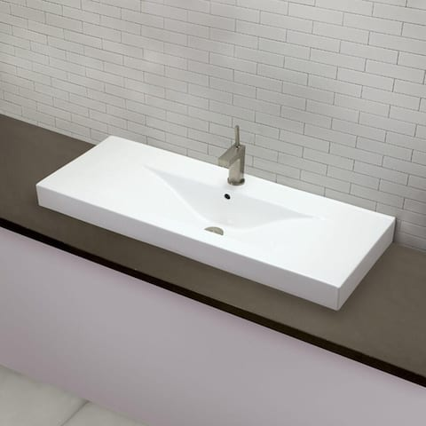 Classically Redefined Cityview Rectangular Vitreous China Bathroom Sink with Single Hole Faucet Drilling in White