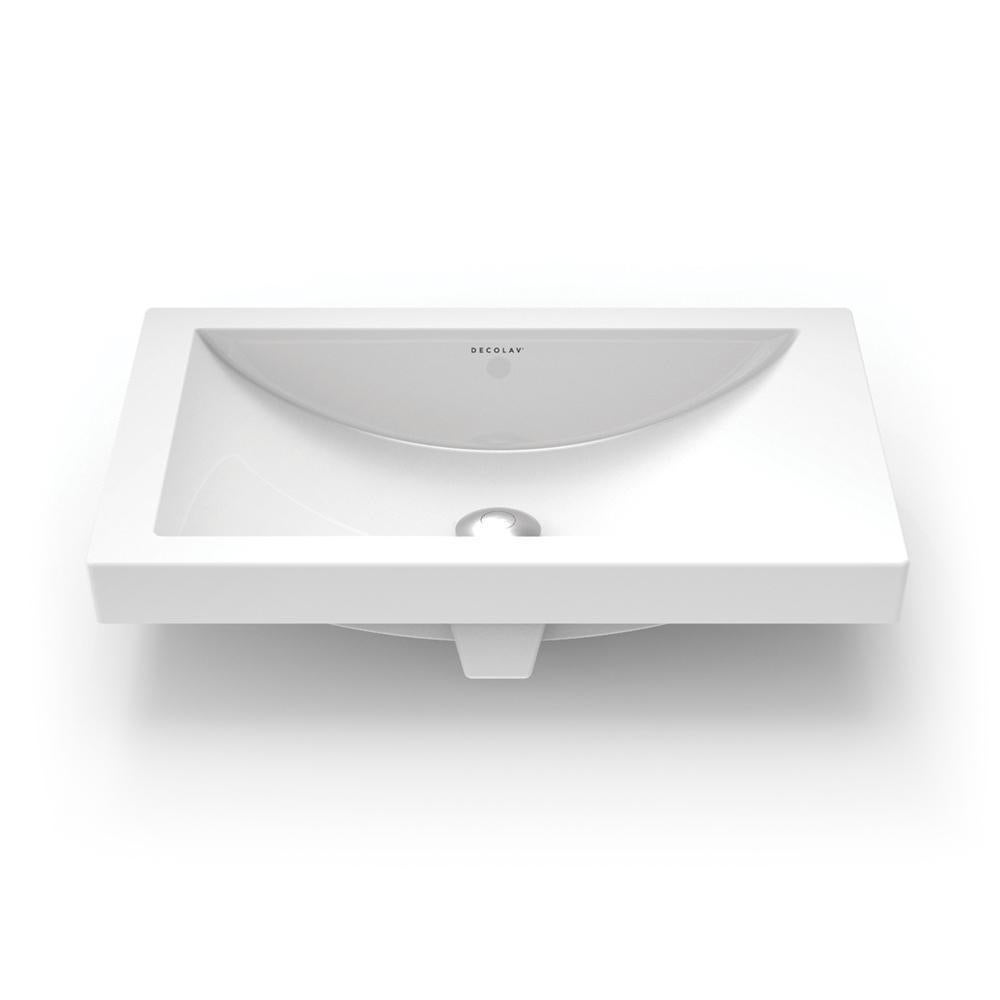 Vitreous China Semi Recessed Bathroom