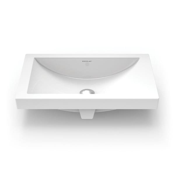 DECOLAV 14107-CWH Breanna Semi-Recessed Rectangular Lavatory Sink with Overflow White