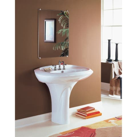 Large Oval Vitreous China Pedestal Sink with 4 inch Faucet Drilling
