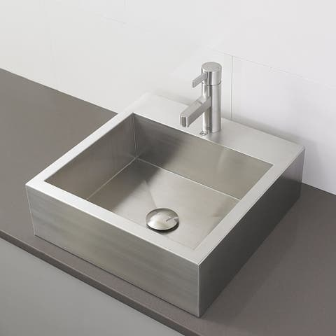 Simply Stainless Collection Rectangular Above-Counter Bathroom Sink with Single Hole Faucet Drilling