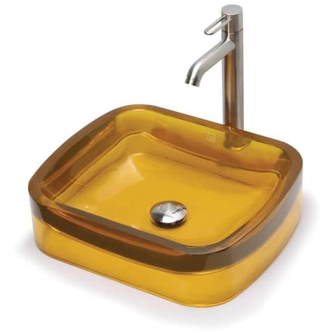 Lacee Honeycomb Rectangular Above-Counter Resin Bathroom Sink