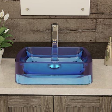 Incandescence Blue Atmosphere Rectangular Above-Counter Resin Bathroom Sink