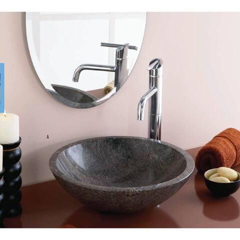Perfect Chisel Granite Round Lip Edge Bathroom Sink in Paradiso Granite