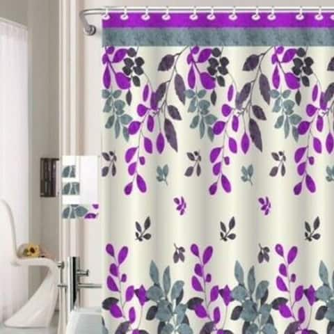 """Polyester Shower Curtain with Hooks Purple Hinata 72"""" x 72"""""""