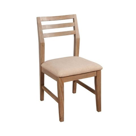 Aiden Set of 2 Side Wood Dining Chairs in Weathered Natural - N/A