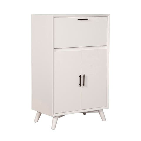 Flynn Large Wood Bar Cabinet with Drop Down Tray in White