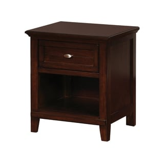 Wooden Nightstand with 1 Drawer and Open Shelf, Cherry Brown