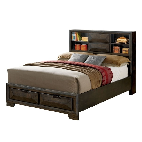 Shop Contemporary Style Queen Bed with Bookcase Headboard ...