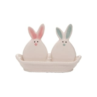 Transpac Dolomite 6 in. White Easter Pom Pom Bunnies Salt and Pepper Set of 3