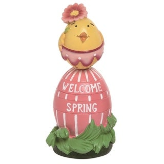 Transpac Resin 6 in. Multicolor Easter Chick on Egg Décor