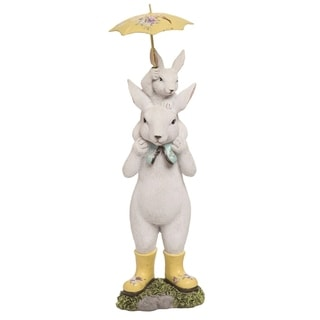 Transpac Resin 12 in. White Easter Standing Bunny with Umbrella Figurine