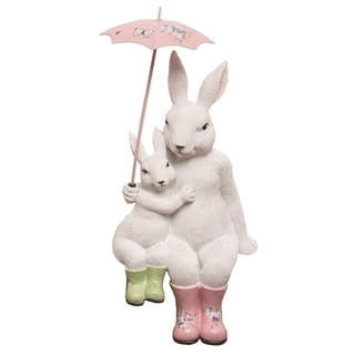 Transpac Resin 8 in. White Easter Bunny with Umbrella Shelf Sitter Figurine