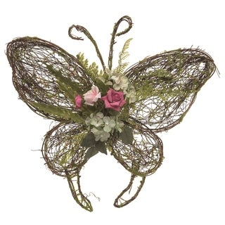 Transpac Wood 16 in. Multicolor Spring Moss Butterfly Wall Décor