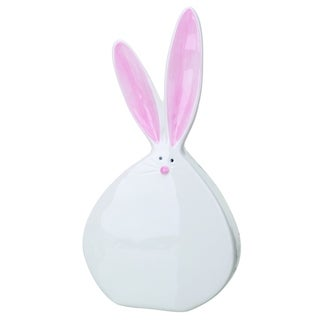 Transpac Dolomite 12 in. White Easter Bunny Figurine with Pom Pom Tail