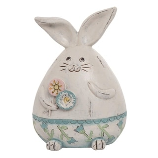 Transpac Resin 6 in. White Easter Round Bunny Figurine