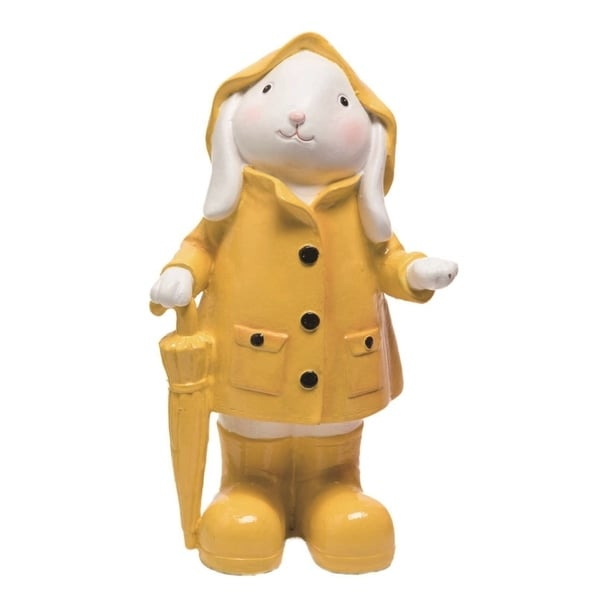 Transpac Resin 8 in. Yellow Easter Bunny with Rain Coat Figurine