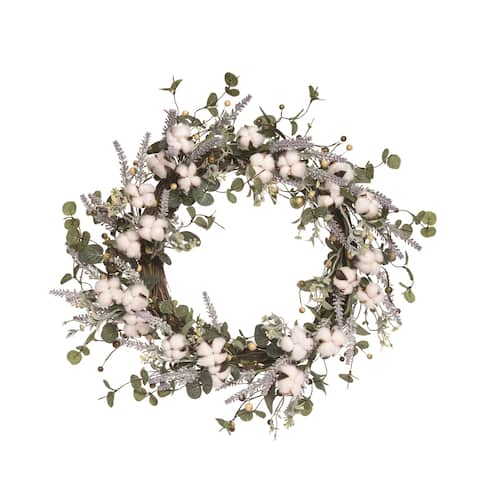 Transpac Wood 24 in. Multicolor Easter Cotton and Lavendar Wreath