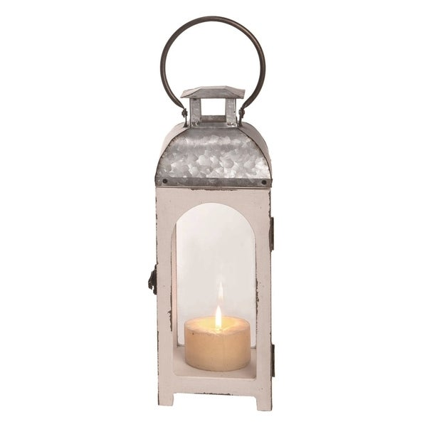 Transpac Wood 13 in. White Spring Classic Lantern Candle Holder (without Candle)