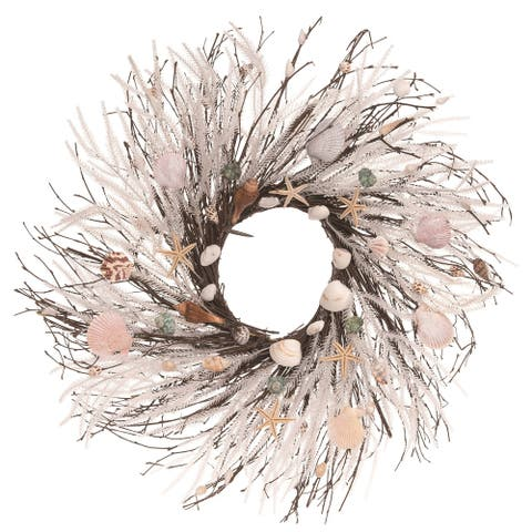 Transpac Wood 24 in. White Spring Twig and Shell Coastal Wreath