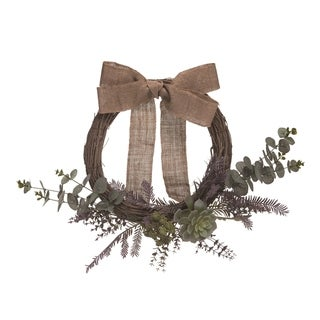 Transpac Plastic 20 in. Brown Spring Twigs and Succulents Wreath
