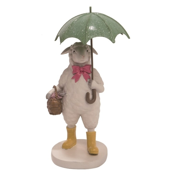 Transpac Resin 8 in. White Easter Lamb with Umbrella Figurine