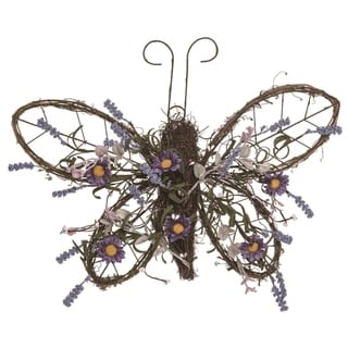 Transpac Wood 18 in. Multicolor Spring Butterfly Wall Décor
