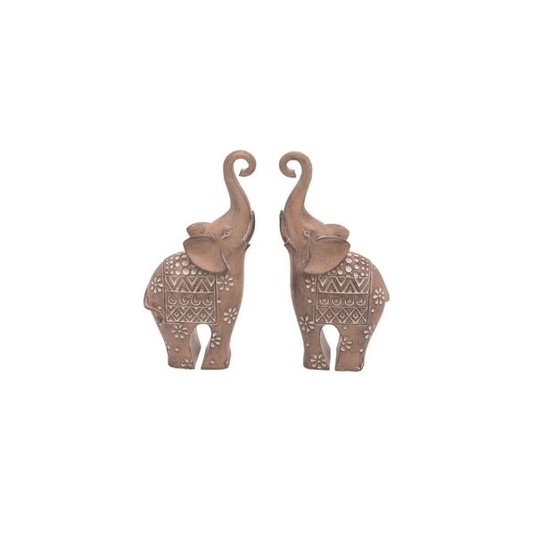 Transpac Resin 9 in. Brown Spring Ornate Elephants with Tribal Designs Set of 2