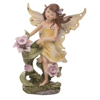 Transpac Resin 7 in. Yellow Spring Fairy with Flower Figurine