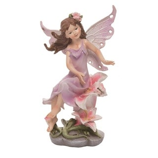 Transpac Resin 7 in. Pink Spring Fairy with Flower Figurine