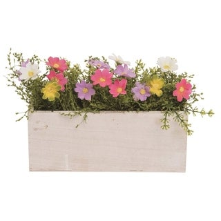 Transpac Wood 9 in. Multicolor Spring Faux Floral Box Display