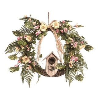 Link to Transpac Wood 24 in. Multicolor Spring Bird House Wreath Similar Items in Decorative Accessories