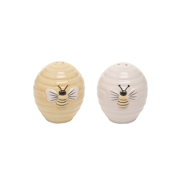 Transpac Dolomite 3 in. Multicolor Spring Beehive Salt and Pepper Set of 2